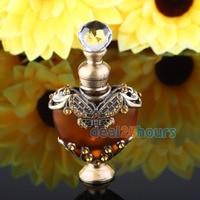 NOUVEAU 5 ml Vintage Coeur Forme Vide Métal Rechargeable Verre Bouteille De Parfum Bouchon Cadeau