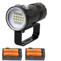 Underwater Video Diving Flashlight 18000LM 15 XML2 + 6 Red + 6 UV / Blue LED 18650 Battery Dive Scuba Torch Lantarna Lamp