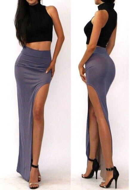 New Brand Designer summer Hot Sale 2016 Novelty  Sexy Women Skirt Lady Open Side Split Skirt High Waist Long Maxi Skirt 4