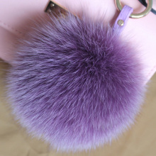 Multicolor 14cm Fox Fur Ball Keyrings Key Chain for Women handbag Fur Pom Pom Keychain soft Ball Charms big size accessory
