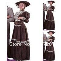 Custom made1860s Романтический Браун Гражданская война Southern Belle бальное платье вечернее платье/викторианской/Скарлетт Лолита платье US6 26 v 337