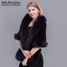 Fox Fur Trimmed Rex Rabbit Fur Cape Fox Fur Shawl Winter Women Real Fur Pashmina Fashion PonchoWinter Cape Female MS.MinShu