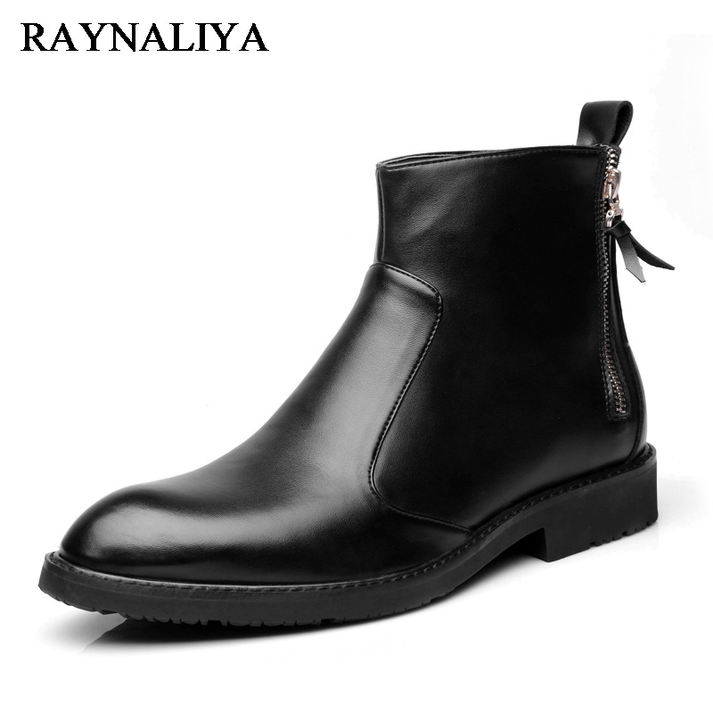 New Fashion Genuine Leather Men Boots Causal Office Work Shoes Male Lace Up Ankle Boot Plus Size 39-44 Father Shoes LMX-A0010