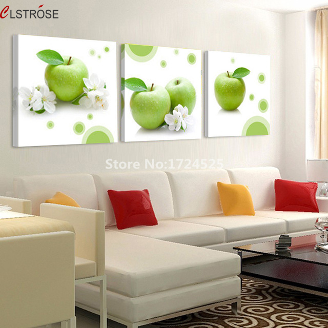 clstrose green apple picture modern home decor 3 pcs wall art canvas painting for kitchen. Black Bedroom Furniture Sets. Home Design Ideas