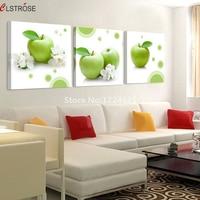 CLSTROSE Mela Verde Immagine Modern Home Decor 3 Pz Parete Pittura Per La Cucina Sala da pranzo Appeso Sulla Parete di arte della Tela di Canapa senza cornice