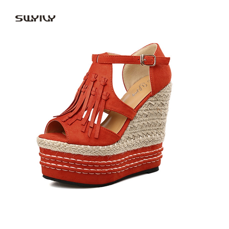 SWYIVY Women's Sandals Platform 15 Cm Super High Heel Wedge Female Sandals Tassel 2018 Hot Nightclub Lady Sexy Shoes 32 33 Size недорго, оригинальная цена