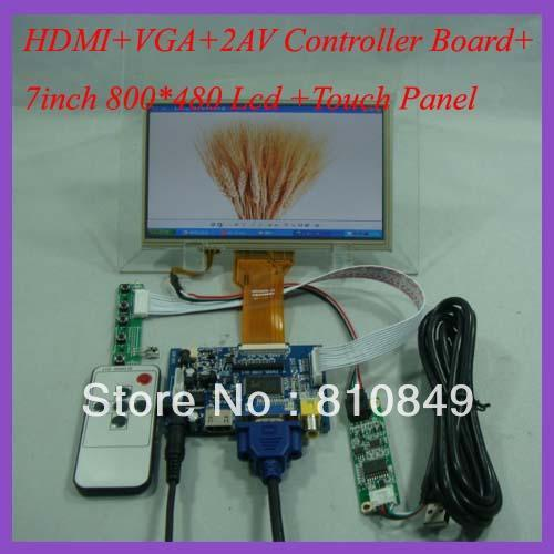 HDMI+VGA+2AV driver board+7inch 800*480 AT070TN93 EJ070NA-03A+Touch Panel+Remote hdmi vga 2av reversing driver board 8inch at080tn52 800 600 with touch panel