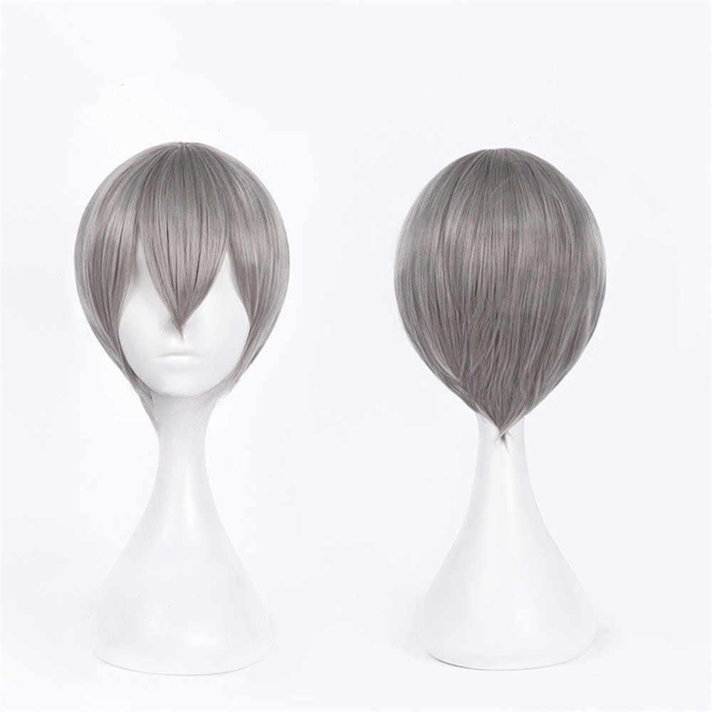 Anime Black Butler Kuroshitsuji Ciel Phantomhive Wigs Grey Heat Resistant Synthetic Hair Cosplay Wig