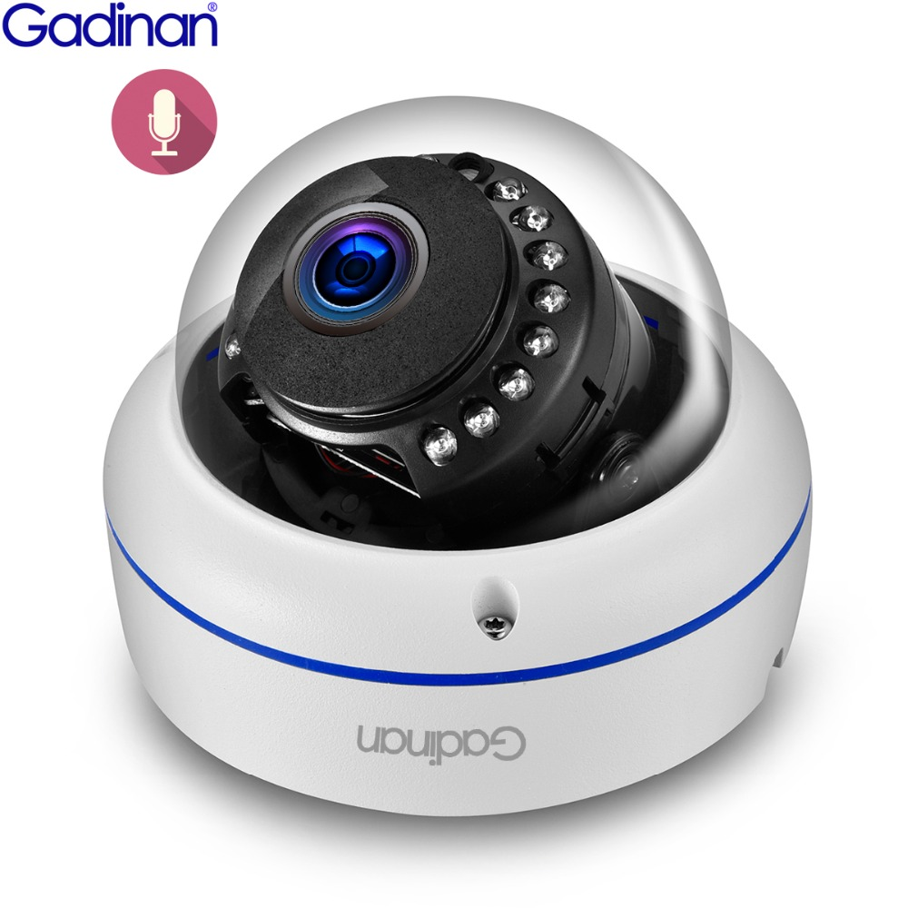Gadinan Onvif HD 3MP 2MP 1080P IP Camera Support Audio With Built In Microphone Pickup Day Night Metal Dome Camera 2.8mm Lens