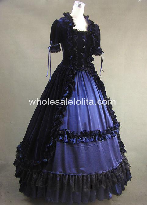 Хорошо сделанный из 2 предметов синего и черного цветов готический, викторианской эпохи платье исторический Театральный Костюм