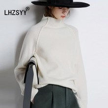 LHZSYY New Autumn and Winter High-collar Sweater Women Loose pure Cashmere Thickened Fashion stripes pullover Warm shirt