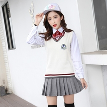 2017 autumn japanese school uniform girl maid sailor navy crop top cosplay escolar japones costume side slit pleated skirt