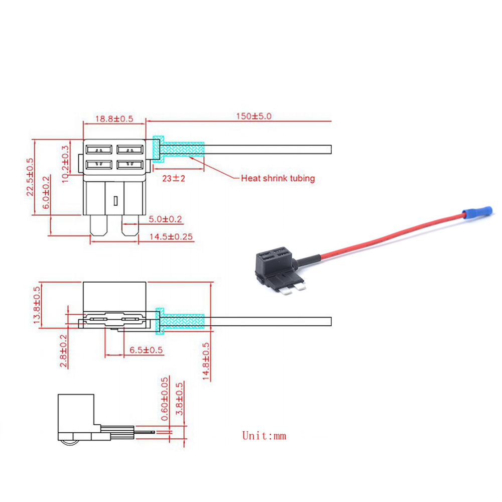 Universal Car 5pcs Add A Circuit Standard Blade Fuse Splice Holder Parallel With Lwh7606 C1 C3 D1