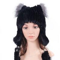 Russian Explosion Models Wool Hat Rabbit Fur Fox Fur Ear With 6 Rabbit Fur Strips Sew