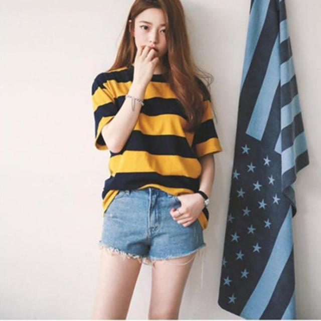 83a80f4ab44 Fashion Tops 2016 Women New Summer Korean Style Short Sleeve T-shirt Cotton  Yellow And Black Striped Loose Ladies Shirt Hot Sale