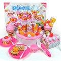 73 pçs/set Alimentos Brinquedo De Madeira Bolo DIY Clássico Toy Food Sobremesa para Presentes da Festa de Aniversário Bolo de Frutas De Corte De Plástico