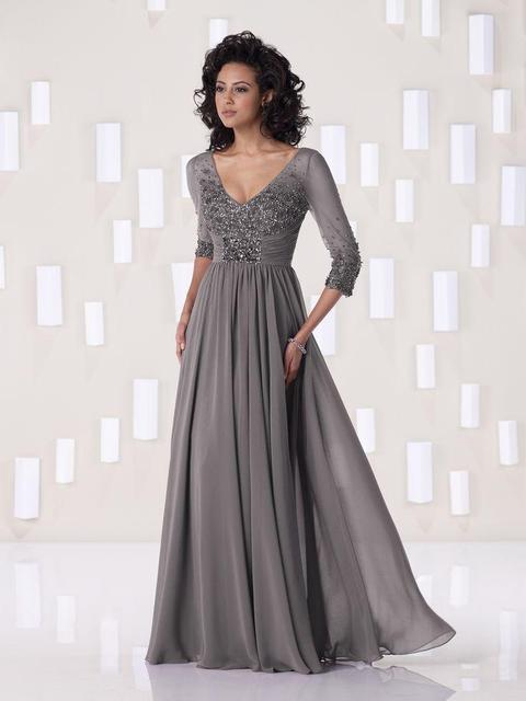 Gray V-Neck Three Quarter Chiffon Floor Length Beading Plus Size Formal Dress 2017 Mother of the Bride Dresses vestido de festa
