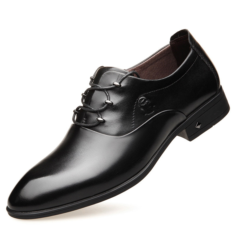 Factory direct famous brand business dress men's leather shoes leather pointed tie wedding shoes soft leather casual shoes men