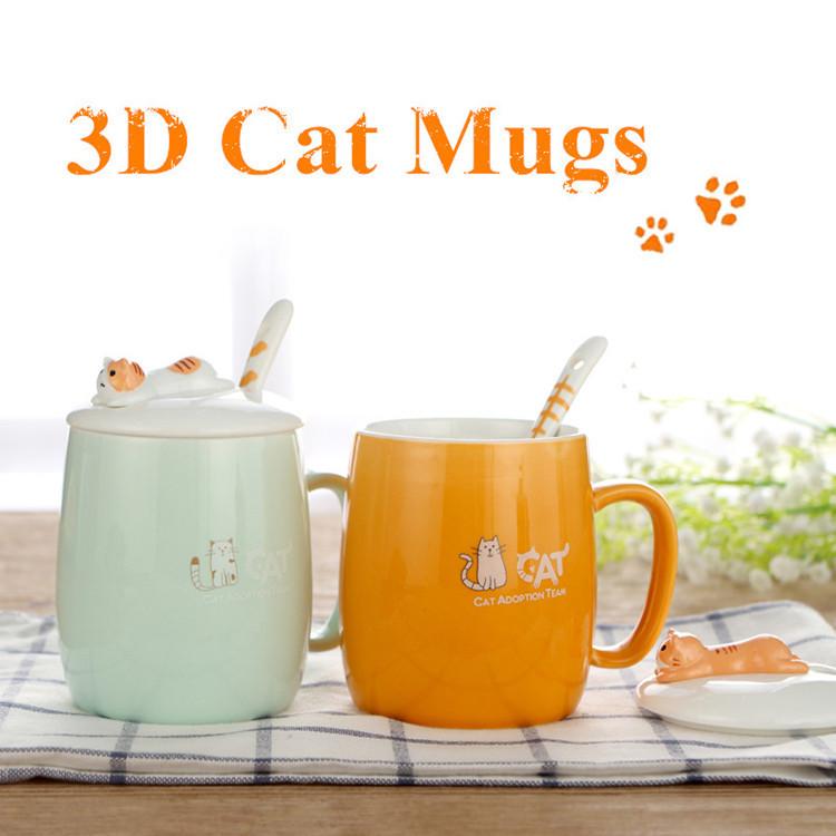 3D Cute Cat Ceramic Mug