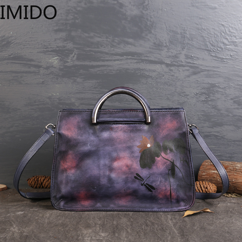 IMIDO 2019 New Personality Single Shoulder Handbag Female National Wind Lotus Hand Wipe Color Leather Fashion Leisure TravelIMIDO 2019 New Personality Single Shoulder Handbag Female National Wind Lotus Hand Wipe Color Leather Fashion Leisure Travel
