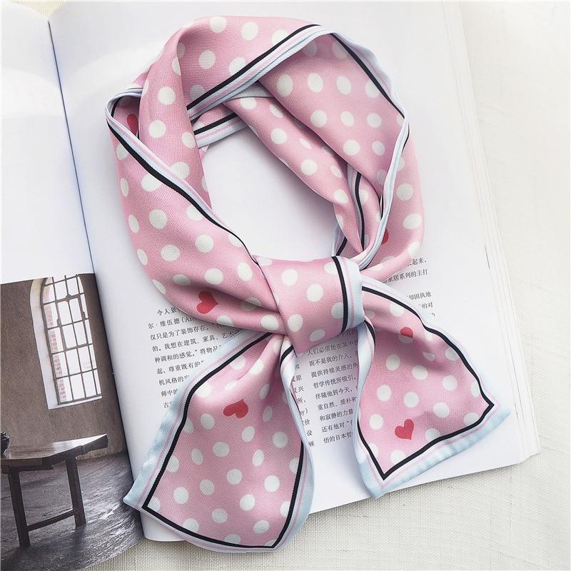 2019 Small Dots Skinny Long Silk Scarf Head Neck Scarf Foulard Femme Bandana Elegant Women's Hair Tie Band Wrap Hand Kerchief