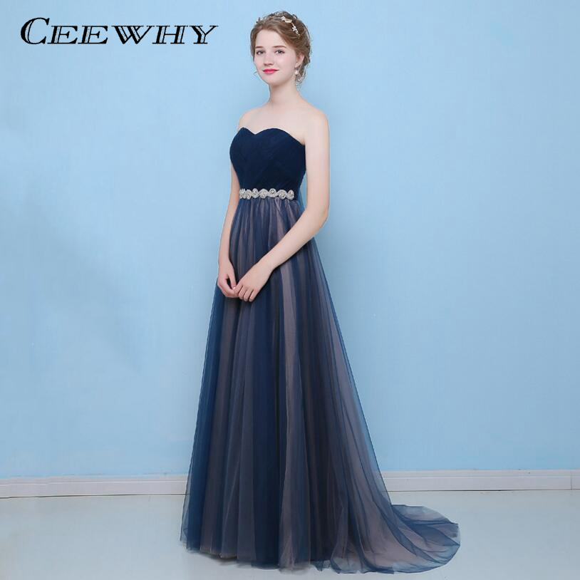 d611798911efd Navy Blue Tulle Strapless Back Lace-up Crystal Long Evening Dress 2017 Prom  Dress Court Train Formal Gowns Robe de Soiree