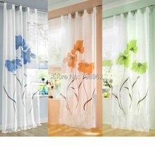 Alemán hecho a mano flores de inyección de tinta diseño de la ventana pantallas cortinas de voile sheer 4 colores (Un panel)