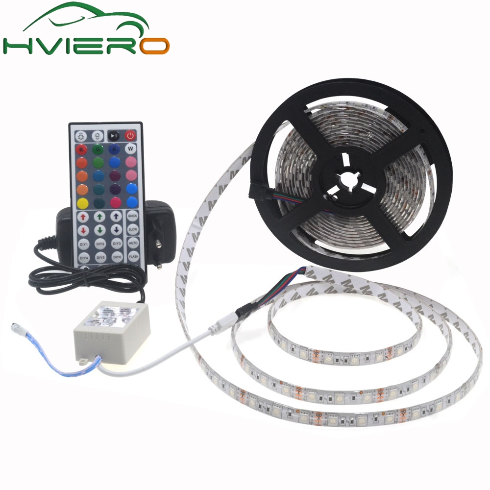 5m 5050 SMD LED Strip DC 12V Waterproof 60LEDs/m Flexible RGB Light for home decoration with 3A Adapter Controller full set 36w 12v 1200lm 150 smd 5050 led rgb waterproof decoration light strip kit 12v 5m