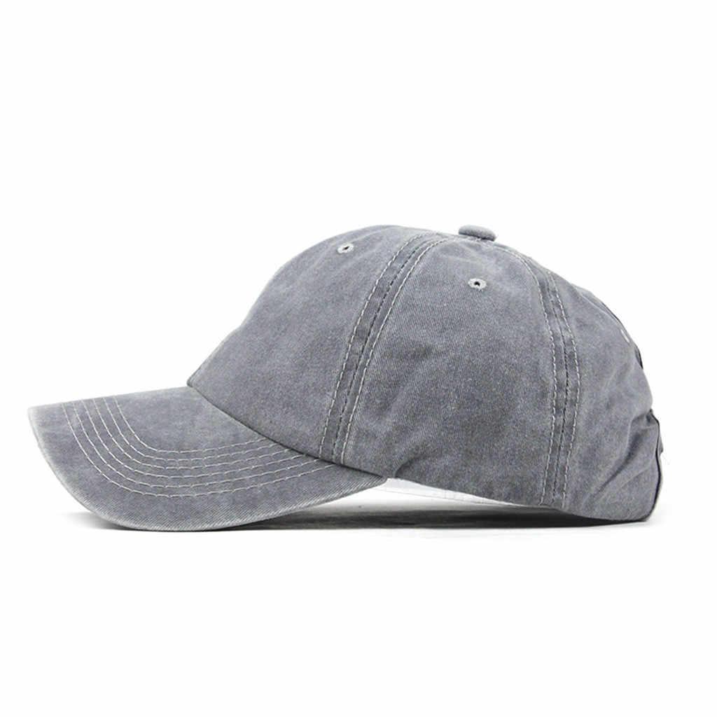 c36f50020 Retro Washed Denim Baseball Cap Fitted Snap Back Hat For Men Women ...