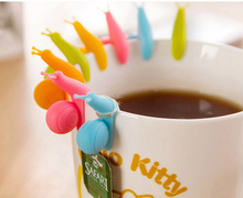 HOT SALE! 6 PCS Cute Snail Shape Silicone Tea Bag Holder Cup Mug Candy Colors Gift Set