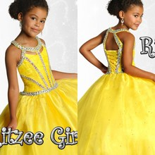2017 Gorgeous Bright Yellow Flower Girl Dresses Beaded shiny Crystal Ball Gown pageant dresses for girls glitz lace up back