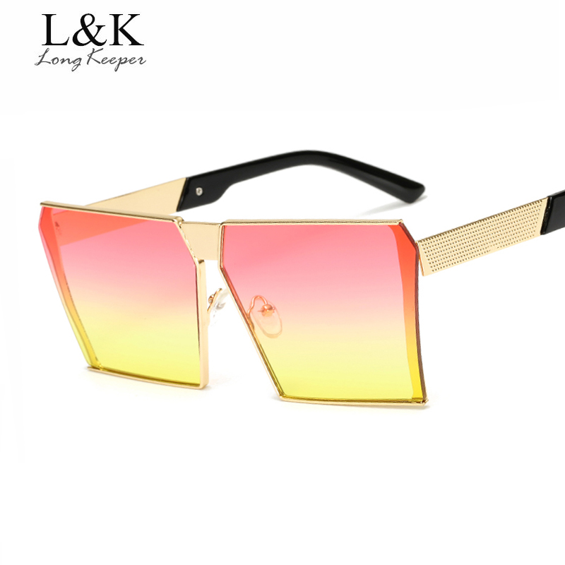 Long Keeper Square Big Frame Sun Glasses For Women 2019 Reflective Mirror Metal Ladies Sunglasses gafas UV400 Goggles AM283