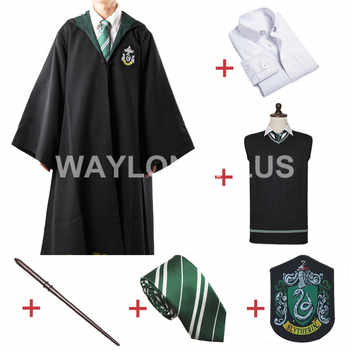 Free Shipping Slytherin Malfoy Robe Cloak Pullover Sweater Shirt Necktie Badge Wand for Harris Costume - DISCOUNT ITEM  25% OFF All Category