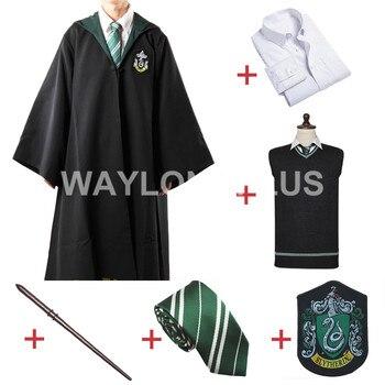Trasporto Libero Serpeverde Malfoy Robe Mantello Maglione Pullover Maglione della Camicia Cravatta Distintivo Bacchetta per Harri Potter Cosplay
