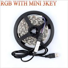 USB con MINI 3KEY tira de LED DC 5V luz Flexible 60LED 50CM 1M 2M 3M 4M 5M SMD 2835 escritorio decoración pantalla iluminación de fondo de TV(China)