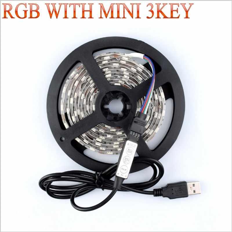 USB dengan Mini 3KEY LED Strip DC 5V Flexible Light 60LED 50CM 1M 2M 3M 4M 5M SMD 2835 Desktop Dekorasi TV Layar Pencahayaan Latar Belakang