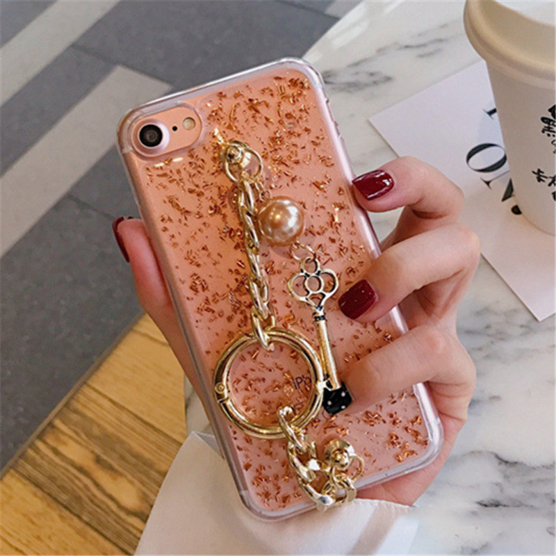 Sparkling Bracelet for iPhone7 6 6 S Plus <font><b>Tassel</b></font> Female Mobile <font><b>Phone</b></font> Fashion Sequins Gold Foil Key Bracelet <font><b>Phone</b></font> <font><b>Case</b></font> TPU Cover