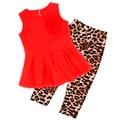 Девушки Мода casual спортивный костюм детская одежда набор рукавов наряд + Leopard Тонкий Брюки 2016 летний новый детская одежда