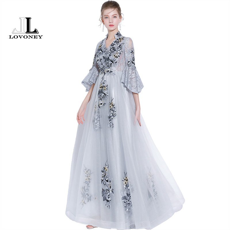 LOVONEY Vintage High V Neck Long Evening Dress with Embroidery Lace ...