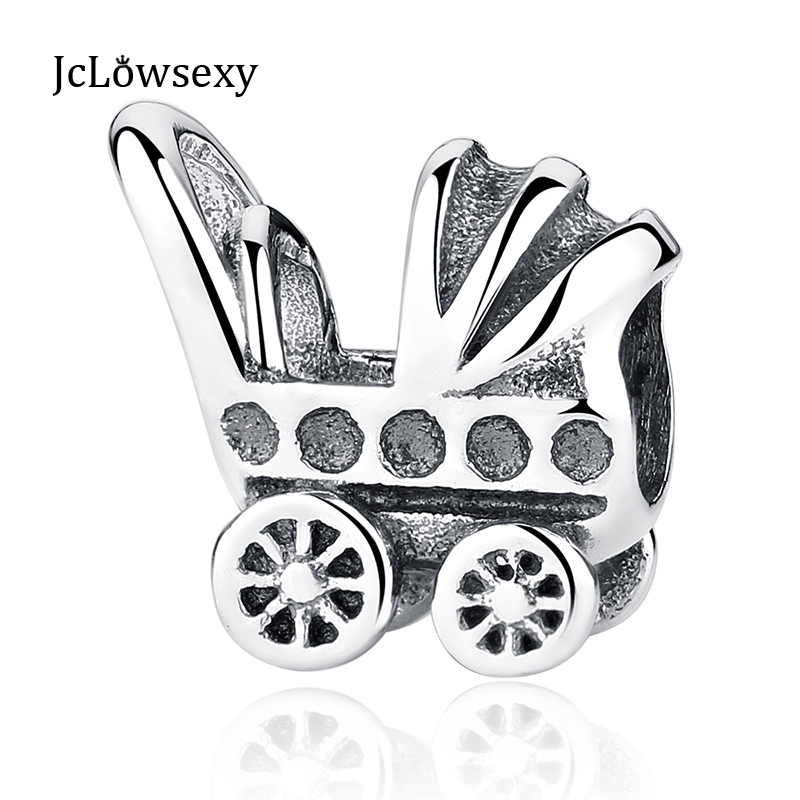 Jclowsexy   Authentic 925 Sterling Silver Bead Charm Cute Stroller Delicate Beads Fit Women  Bracelet Bangle DIY Jewelry YW20520
