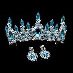 Moda beleza céu azul cristal casamento coroa e tiara grande strass rainha pageant coroas bandana para o cabelo da noiva acessório