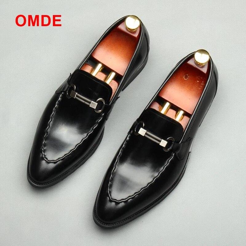 OMDE mocasines de cuero genuino de lujo desliz Formal zapatos de boda de los hombres zapatos de oficina de negocios zapatos planos de los hombres