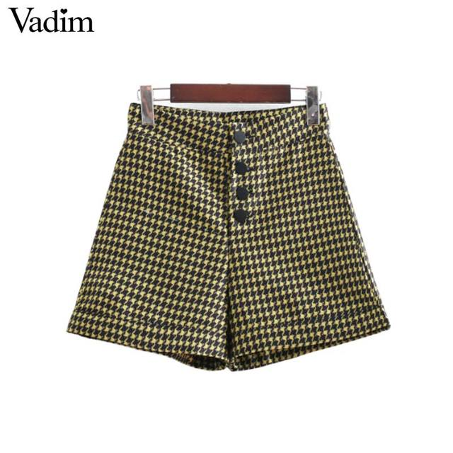 Vadim vintage plaid houndstooth shorts high waist button fly design ladies fashion casual shorts pantalones cortos SA060