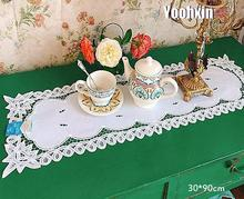 Luxury white lace cotton Embroidery bed Table Runner cloth cover dining tea coffee tablecloth kitchen home party Wedding decor new white lace cotton crochet tablecloth coffee table cloth mat round tea table cover dining christmas xmas party wedding decor