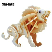 Kids Toy Of 3D Wooden Puzzle For Children Lion The King Prairie Quality Montessori Educationaly As A Good Hobby Gift