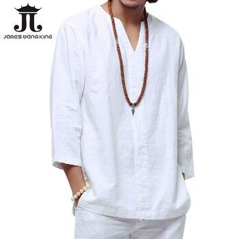 Новинка 2018 Льняная мужская рубашка Повседневная хлопковая дышащая белая мягкая рубашка три четверти Мужская camisa masculina плюс размер 4XL/5XL TX55 >> Jameswang Store