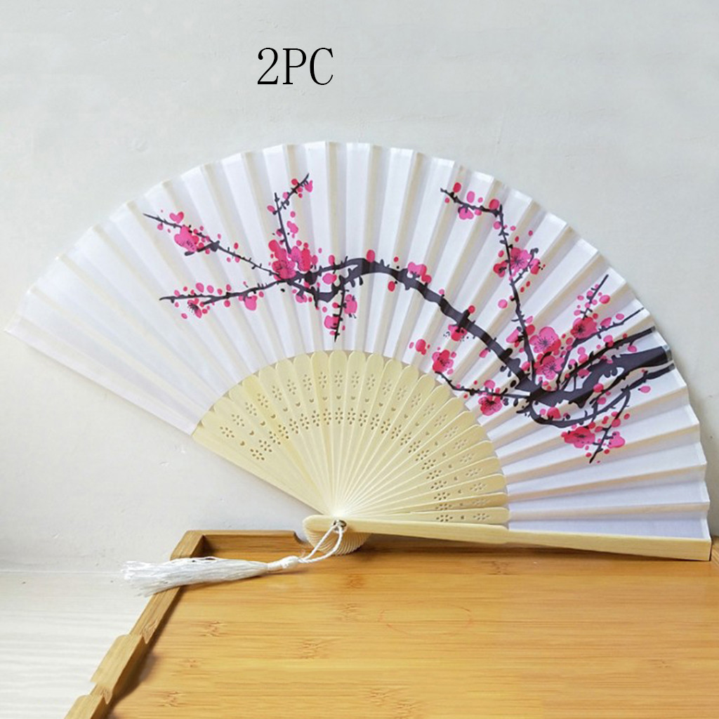 ISHOWTIENDA 2019 New 2 x Folding Fan With Hollowed Bamboo Hand Holding Fans For Wall Decoration Gifts Hot sale(China)
