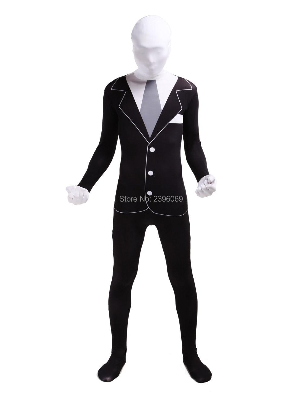 LS002 Black And White Gentleman Zentai Suit Full Body Gentleman Cosplay Zenai Fetish Suits Halloween