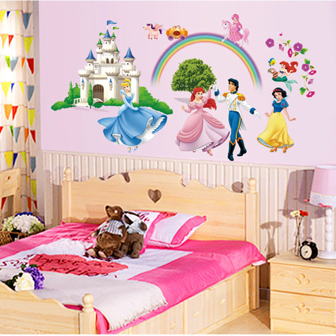 Latest Cartoon White Princess Prince Cinderella Dance Rainbow Wall Stickers For Kids Room Home Decor Decal Wallpaper On In From