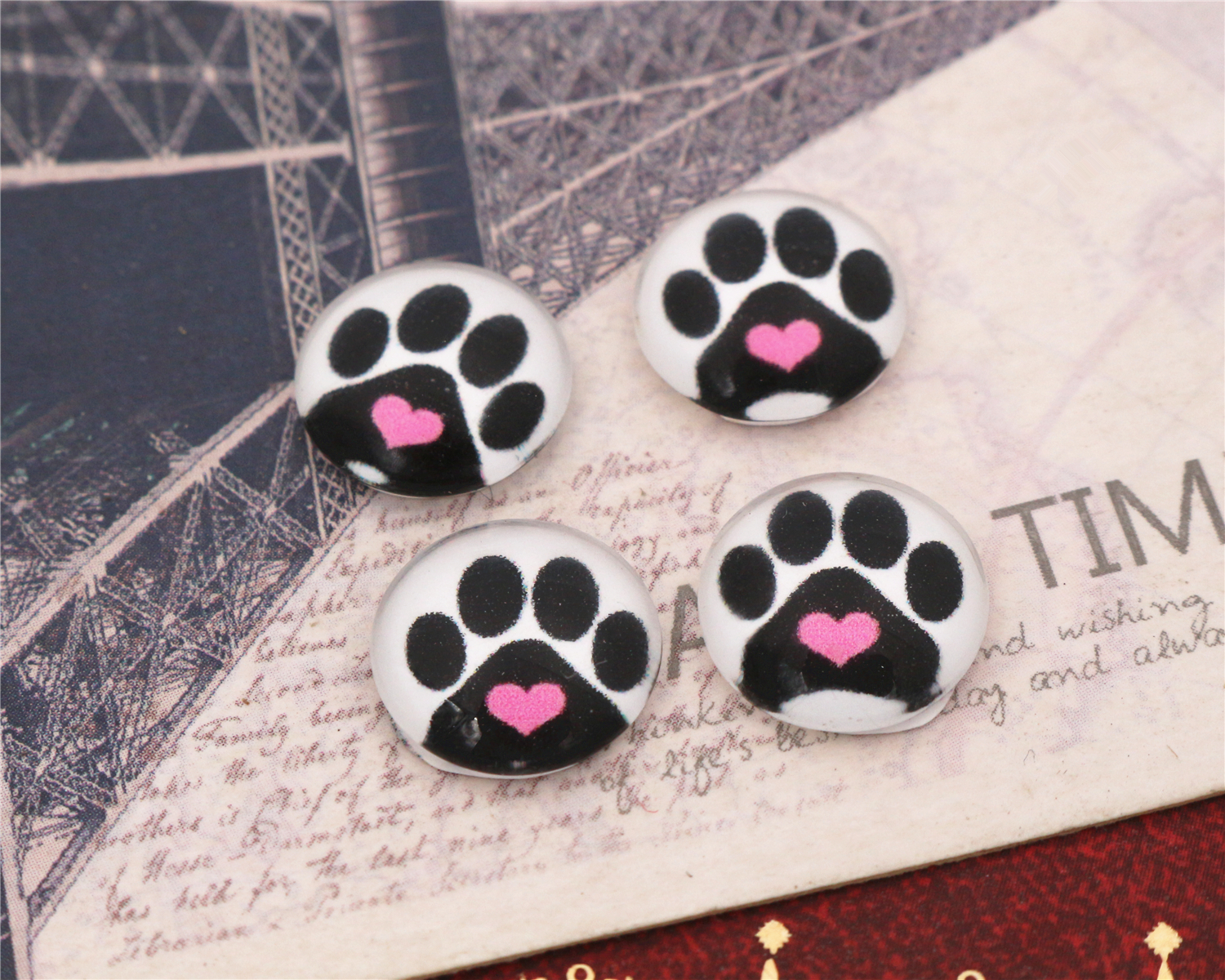 New Fashion  20pcs 12mm Love Claws Handmade Photo Glass Cabochons Pattern Domed Jewelry Accessories Supplies-E6-21